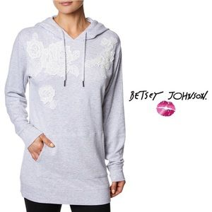 Betsey Johnson Women's Lace Applique Hoodie
